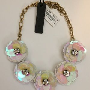 J. Crew Flower and Rhinestone Necklace NWT